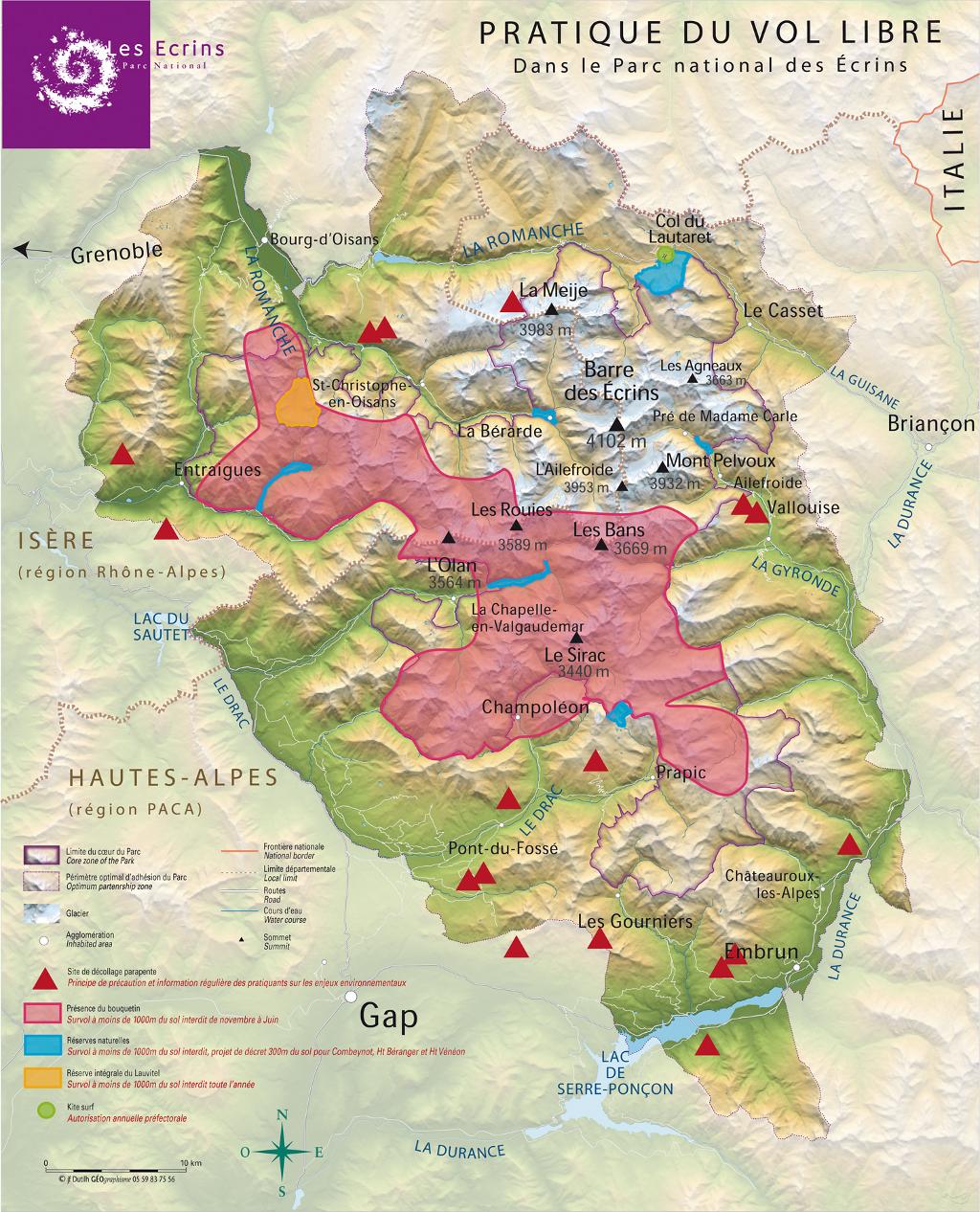 carte de survol du massif des écrins